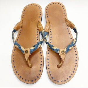 Ugg braided leather Navie sandals size 10 blue